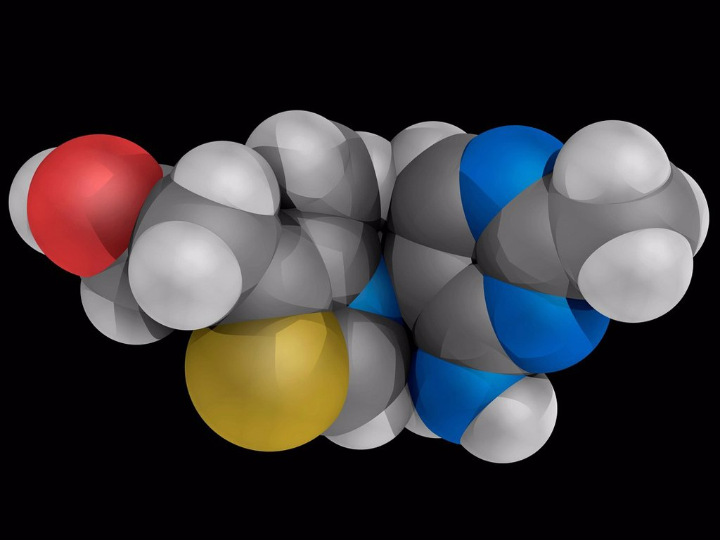 Vitamin B1 thiamine, molecular model. Insufficient intake leads to a disease called beriberi. Atoms are represented as spheres and are colour_coded: carbon grey, hydrogen white, nitrogen blue, oxygen red and sulfur yellow. : Stock Photo