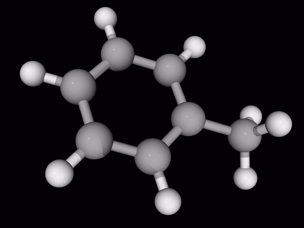 Stock Photo: 4128R-18726 Toluene, molecular model. Aromatic hydrocarbon widely used as an industrial feedstock and as a solvent. Atoms are represented as spheres and are colour_coded: carbon grey and hydrogen white.