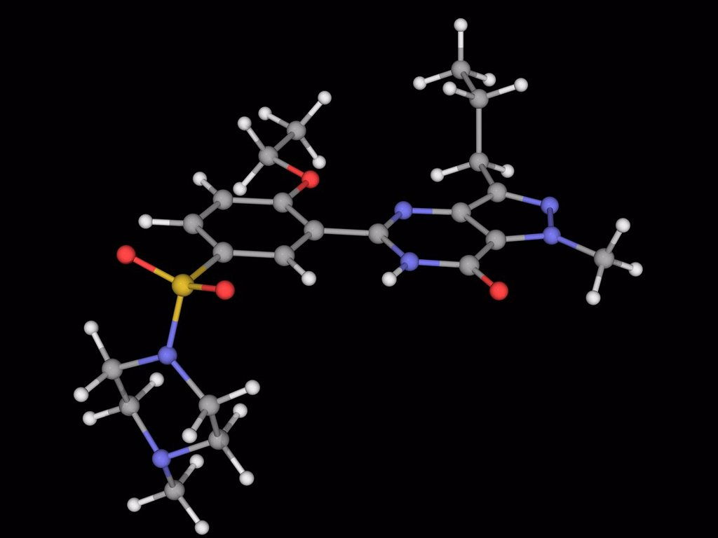 Stock Photo: 4128R-18755 Sildenafil citrate, molecular model. Drug used to treat erectile dysfunction and pulmonary arterial hypertension. Atoms are represented as spheres and are colour_coded: carbon grey, hydrogen white, nitrogen blue, oxygen red and sulfur yellow.