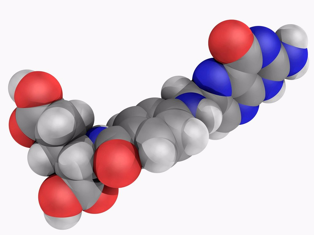Folic acid vitamin B9, molecular model. One form of the water_soluble vitamin B9. Essential to many body functions. Atoms are represented as spheres and are colour_coded: carbon grey, hydrogen white, nitrogen blue and oxygen red. : Stock Photo