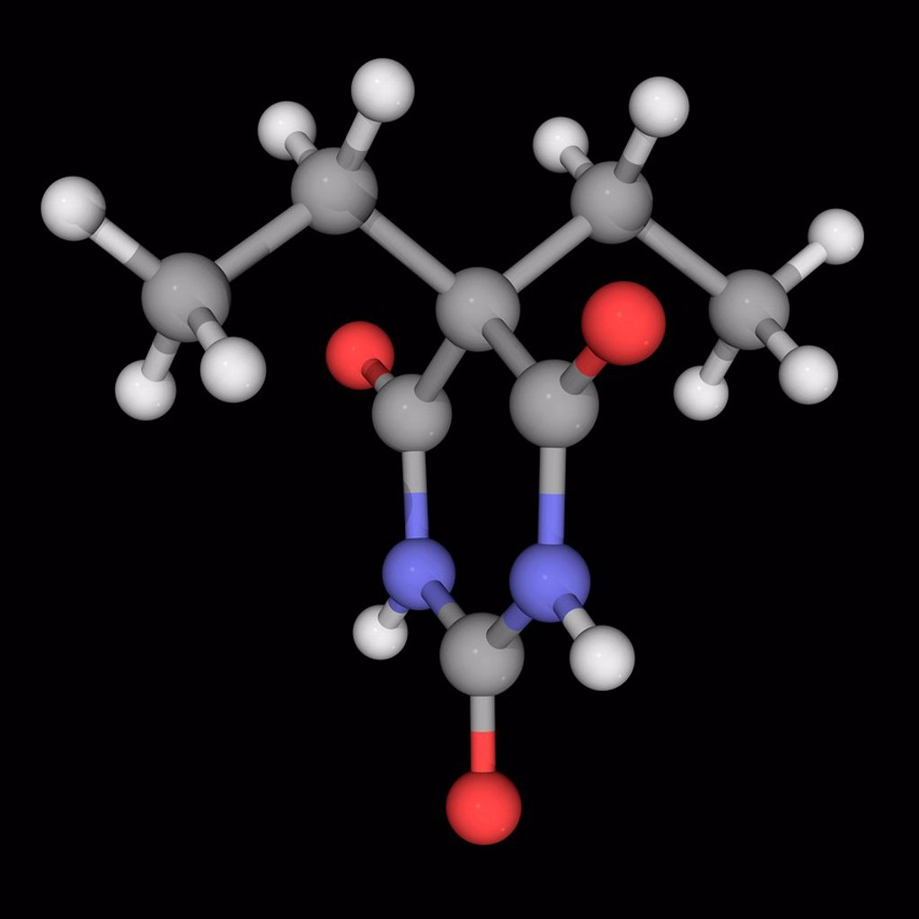 Stock Photo: 4128R-18932 Barbital Veronal, molecular model. First commercially marketed barbiturate. Atoms are represented as spheres and are colour_coded: carbon grey, hydrogen white, nitrogen blue and oxygen red.