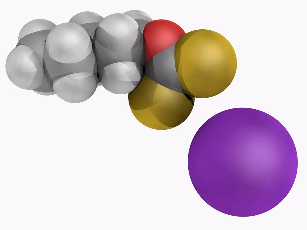 Stock Photo: 4128R-18963 Potassium amyl xanthate, molecular model. Organosulfur compound used as flotation agent for processing nonferrous metallic minerals. Atoms are represented as spheres and are colour_coded: carbon grey, hydrogen white, oxygen red, sulfur yellow and sodium v