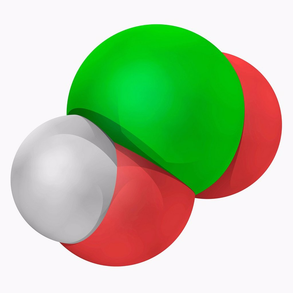 Chlorous acid, molecular model. Weak acid and powerful oxidizing agent. Atoms are represented as spheres and are colour_coded: hydrogen white, oxygen red and chlorine green. : Stock Photo