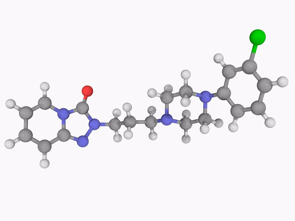 Trazodone, molecular model. Antidepressant of the serotonin antagonist reuptake inhibitor class used to treat depression and insomnia. Atoms are represented as spheres and are colour_coded: carbon grey, hydrogen white, nitrogen blue, oxygen red and chlori : Stock Photo