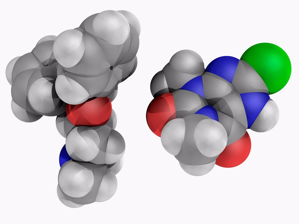 Stock Photo: 4128R-19223 Dimenhydrinate, molecular model. Over_the_counter drug used to prevent nausea and motion sickness. Abused for non_medical purposes. Atoms are represented as spheres and are colour_coded: carbon grey, hydrogen white, nitrogen blue, oxygen red and chlorine