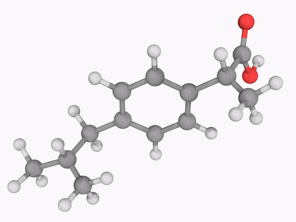 Stock Photo: 4128R-19259 Ibuprofen, molecular model. Non_steroidal anti_inflammatory drug primarily used for fever, pain, dysmenorrhea and rheumatic arthritis. Atoms are represented as spheres and are colour_coded: carbon grey, hydrogen white and oxygen red.