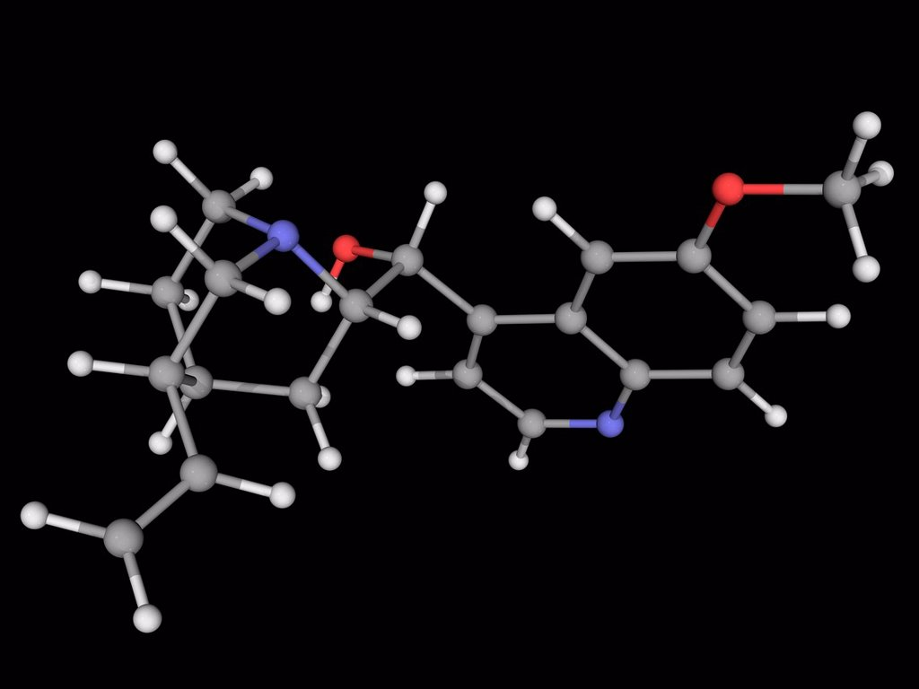 Stock Photo: 4128R-19304 Quinine, molecular model. Natural alkaloid with antipyretic, antimalarial, analgesic and anti_inflammatory properties. Atoms are represented as spheres and are colour_coded: carbon grey, hydrogen white, nitrogen blue and oxygen red.