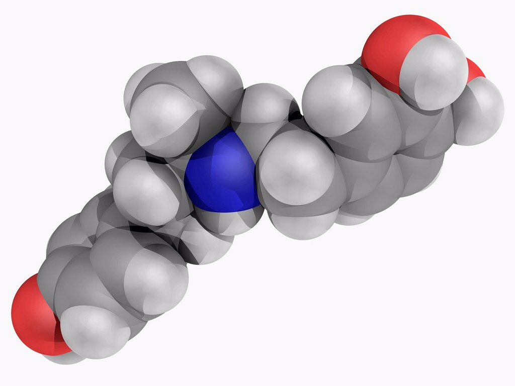 Dobutamine, molecular model. Sympathomimetic drug used in the treatment of heart failure and cardiogenic shock. Atoms are represented as spheres and are colour_coded: carbon grey, hydrogen white, nitrogen blue and oxygen red. : Stock Photo