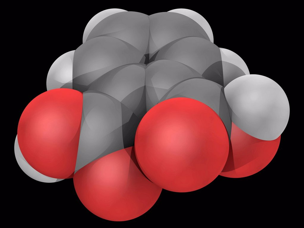 Stock Photo: 4128R-19370 Phtalic acid, molecular model. Aromatic dicarboxylic acid. Atoms are represented as spheres and are colour_coded: carbon grey, hydrogen white and oxygen red.