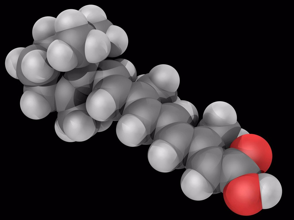 Tretinoin, molecular model. Acid form of vitamin A commonly used to treat acne and hair loss. Atoms are represented as spheres and are colour_coded: carbon grey, hydrogen white and oxygen red. : Stock Photo
