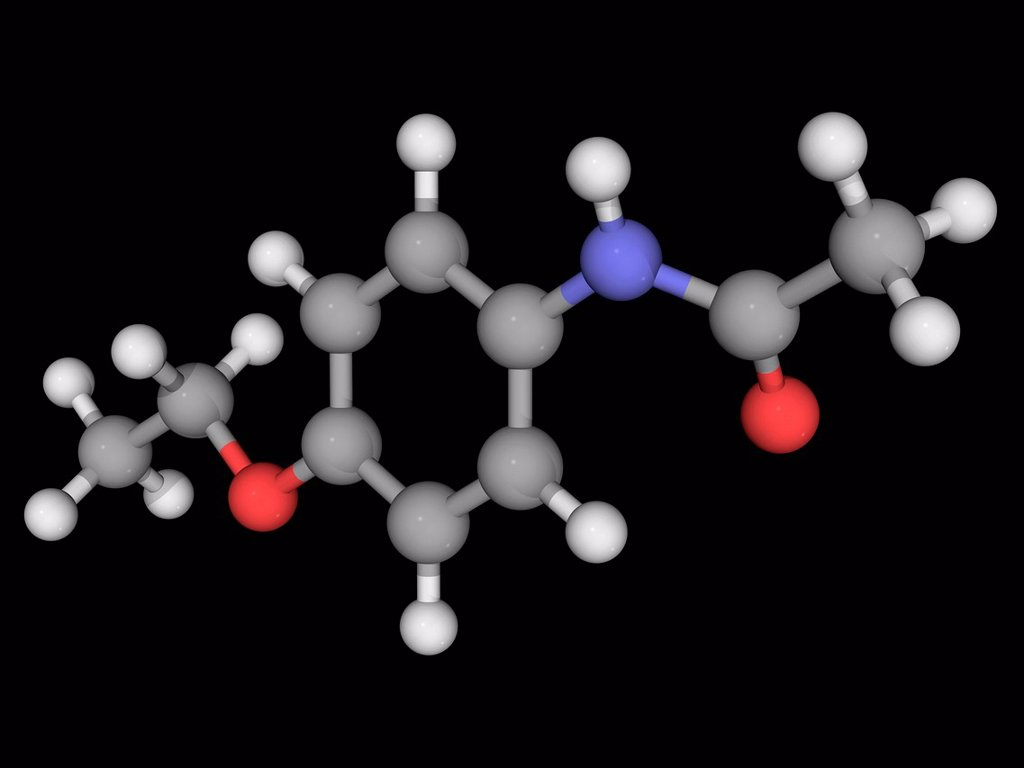 Phenacetin, molecular model. Analgesic whose use has declined because of adverse effects. Atoms are represented as spheres and are colour_coded: carbon grey, hydrogen white, nitrogen blue and oxygen red. : Stock Photo