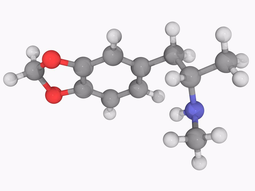 MDMA ecstasy, molecular model. Entactogenic drug of the phenethylamine and amphetamine class of drugs. Atoms are represented as spheres and are colour_coded: carbon grey, hydrogen white, nitrogen blue and oxygen red. : Stock Photo