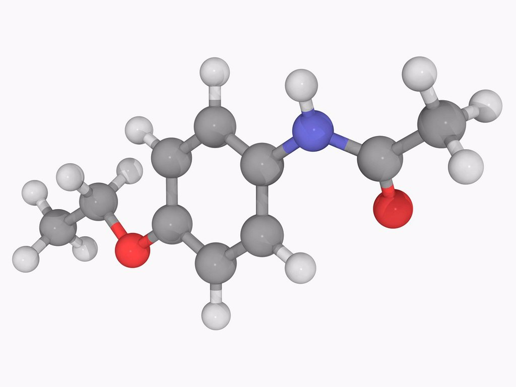 Stock Photo: 4128R-19407 Phenacetin, molecular model. Analgesic whose use has declined because of adverse effects. Atoms are represented as spheres and are colour_coded: carbon grey, hydrogen white, nitrogen blue and oxygen red.