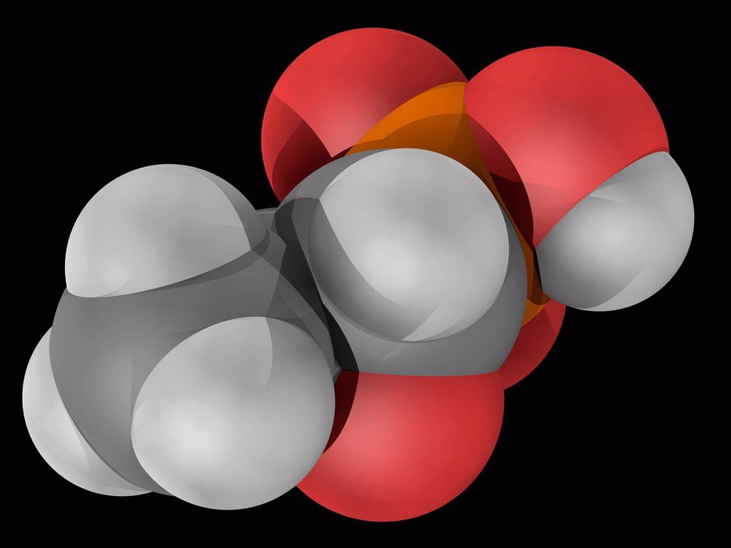 Stock Photo: 4128R-19489 Fosfomycon phosphomycin, molecular model. Broad_spectrum antibiotic used in the treatment of urinary tract infections. Atoms are represented as spheres and are colour_coded: carbon grey, hydrogen white, oxygen red and phosphorus yellow.
