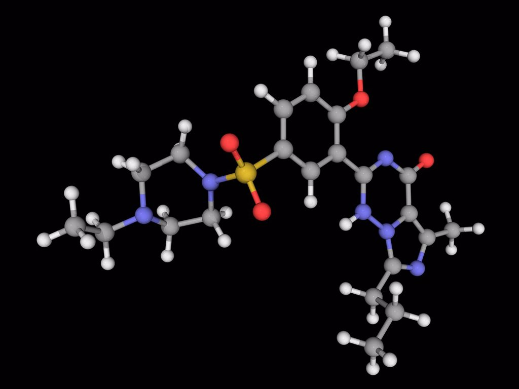 Vardenafil, molecular model. Phosphodiesterase type 5 inhibitor used in the treatment of erectile dysfunction. Atoms are represented as spheres and are colour_coded: carbon grey, hydrogen white, nitrogen blue, oxygen red and sulfur yellow. : Stock Photo