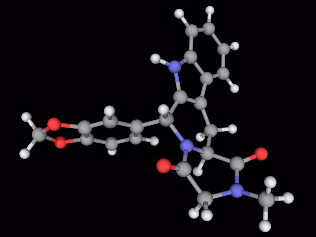 Stock Photo: 4128R-19668 Tadalafil, molecular model. PDE5 inhibitor used to treat erectile dysfunction and pulmonary arterial hypertension. Atoms are represented as spheres and are colour_coded: carbon grey, hydrogen white, nitrogen blue and oxygen red.