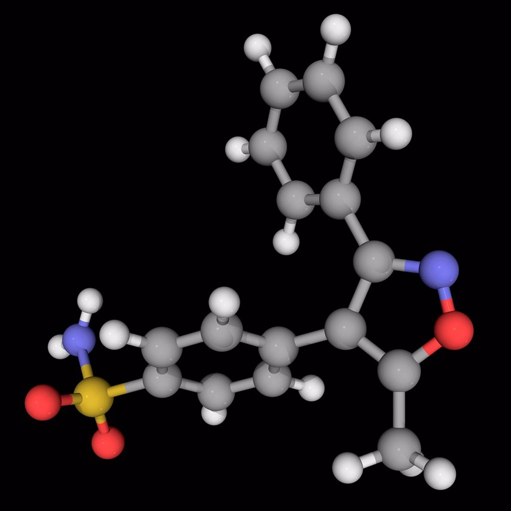 Stock Photo: 4128R-19769 Valdecoxib, molecular model. Non_steroidal anti_inflammatory drug used to treat osteoarthritis, rheumatoid arthritis and painful menstruation. Atoms are represented as spheres and are colour_coded: carbon grey, hydrogen white, nitrogen blue, oxygen red an