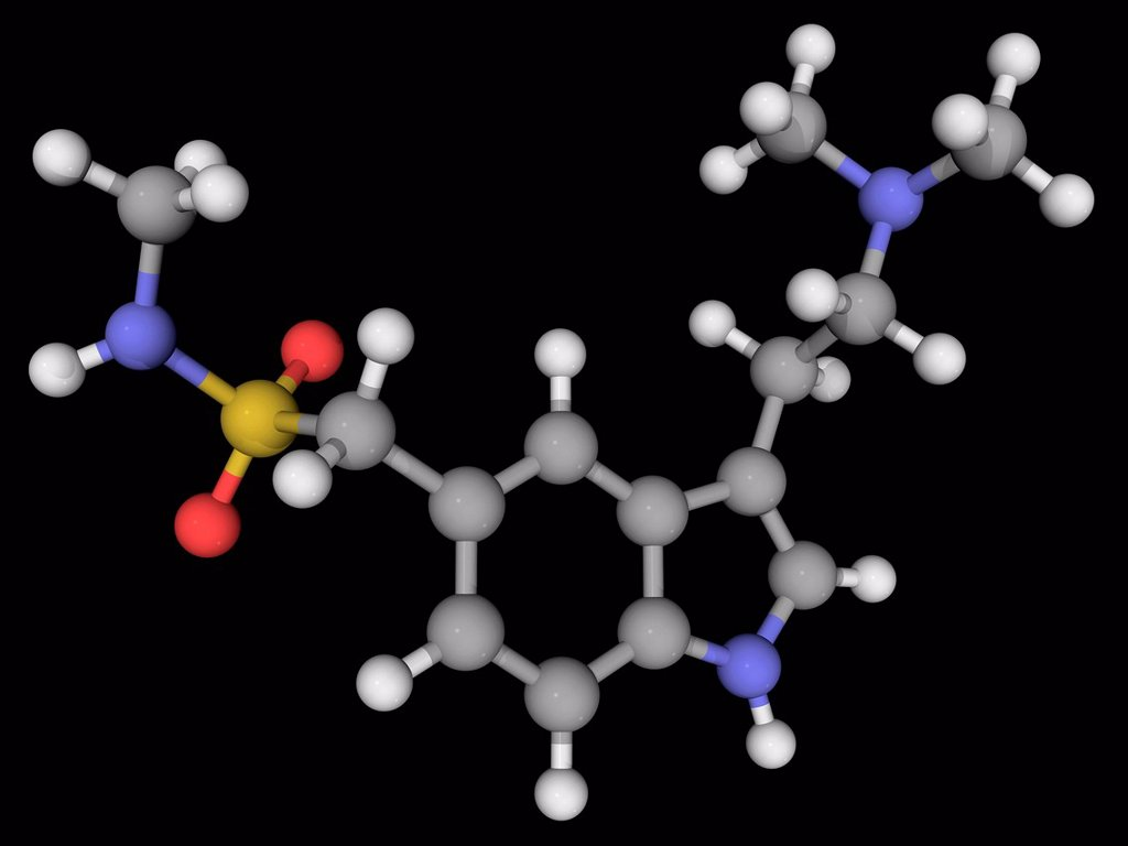 Stock Photo: 4128R-19905 Sumatriptan, molecular model. Triptan sulfa drug used for the treatment of migraine headaches. Atoms are represented as spheres and are colour_coded: carbon grey, hydrogen white, nitrogen blue, oxygen red and sulfur yellow.