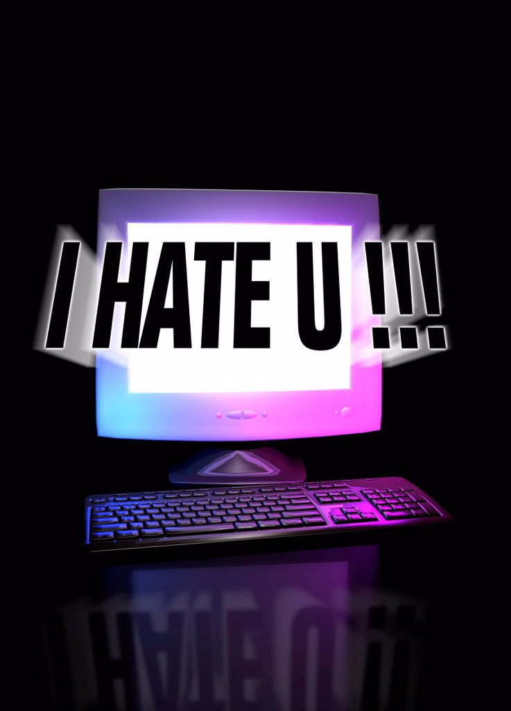 Stock Photo: 4128R-20048 Cyber bullying, conceptual computer artwork.