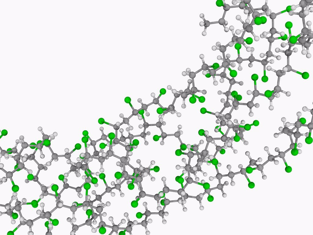 Stock Photo: 4128R-20101 Polyvinyl chloride PVC, molecular model. Synthetic polymer consisting of long chains of the monomer vinyl chloride. Atoms are represented as spheres and are colour_coded: carbon grey, hydrogen white and chlorine green.
