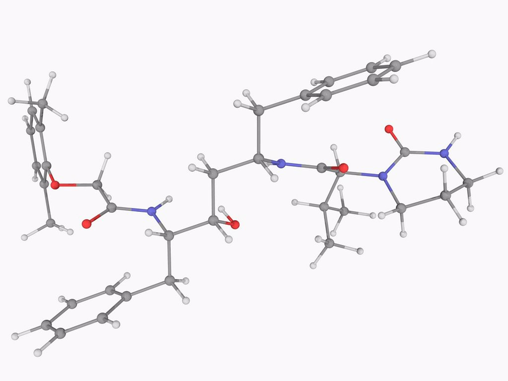 Lopinavir, molecular model. Antiretroviral drug of the protease inhibitor class. Used together with ritonavir to treat HIV. Atoms are represented as spheres and are colour_coded: carbon grey, hydrogen white, nitrogen blue and oxygen red. : Stock Photo