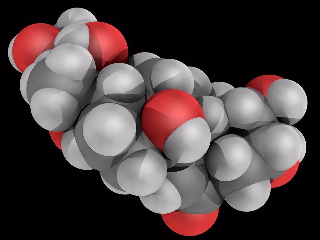 Stock Photo: 4128R-20180 Ecdysterone 20_hydoxyecdysone, 20E, molecular model. Major steroidal insect moulting hormone. Atoms are represented as spheres and are colour_coded: carbon grey, hydrogen white and oxygen red.