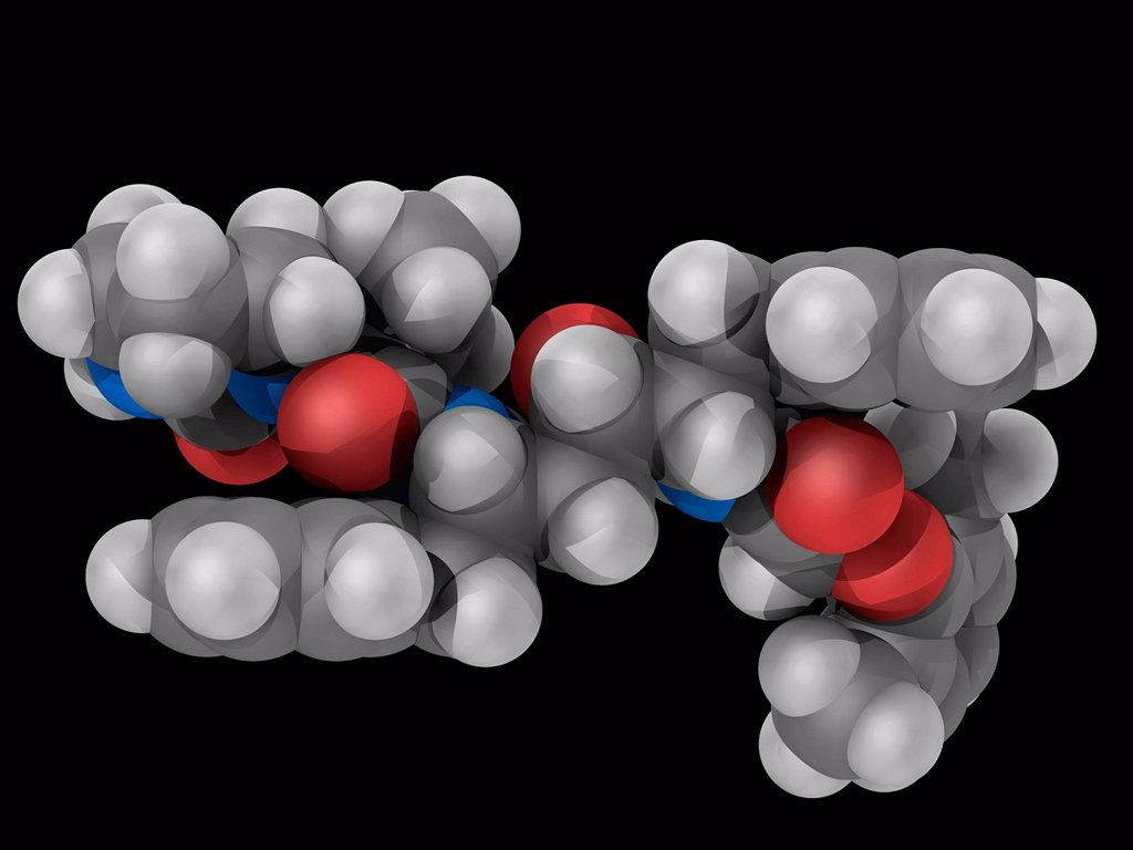 Stock Photo: 4128R-20184 Lopinavir, molecular model. Antiretroviral drug of the protease inhibitor class. Used together with ritonavir to treat HIV. Atoms are represented as spheres and are colour_coded: carbon grey, hydrogen white, nitrogen blue and oxygen red.