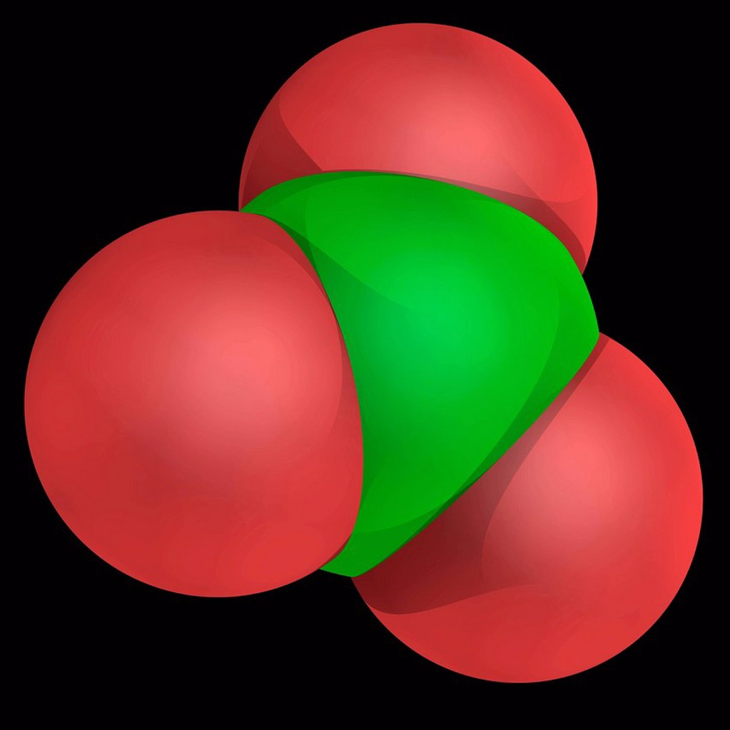 Stock Photo: 4128R-20276 Clorate ion, molecular model. Powerful oxidizer with trigonal pyramidal structure. Atoms are represented as spheres and are colour_coded: oxygen red and chlorine green