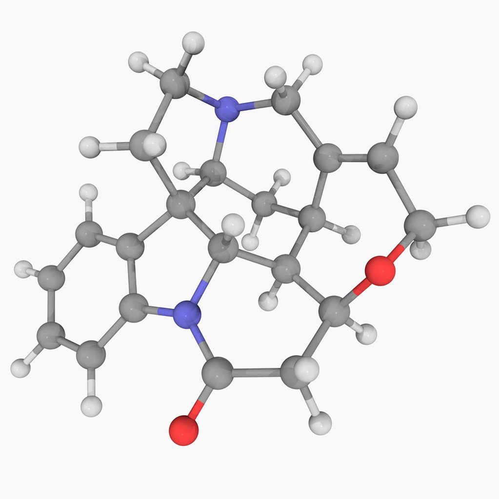 Stock Photo: 4128R-20314 Strychnine, molecular model. Highly toxic colourless crystalline alkaloid used as a pesticide, particularly for killing rodents. Atoms are represented as spheres and are colour_coded: carbon grey, hydrogen white, nitrogen blue and oxygen red.