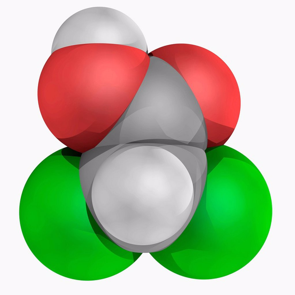 Stock Photo: 4128R-20315 Dichloroacetic acid DCA, molecular model. Analogue of acetic acid with two hydrogen atoms being replaced by chlorine atoms. Atoms are represented as spheres and are colour_coded: carbon grey, hydrogen white, oxygen red and chlorine green.