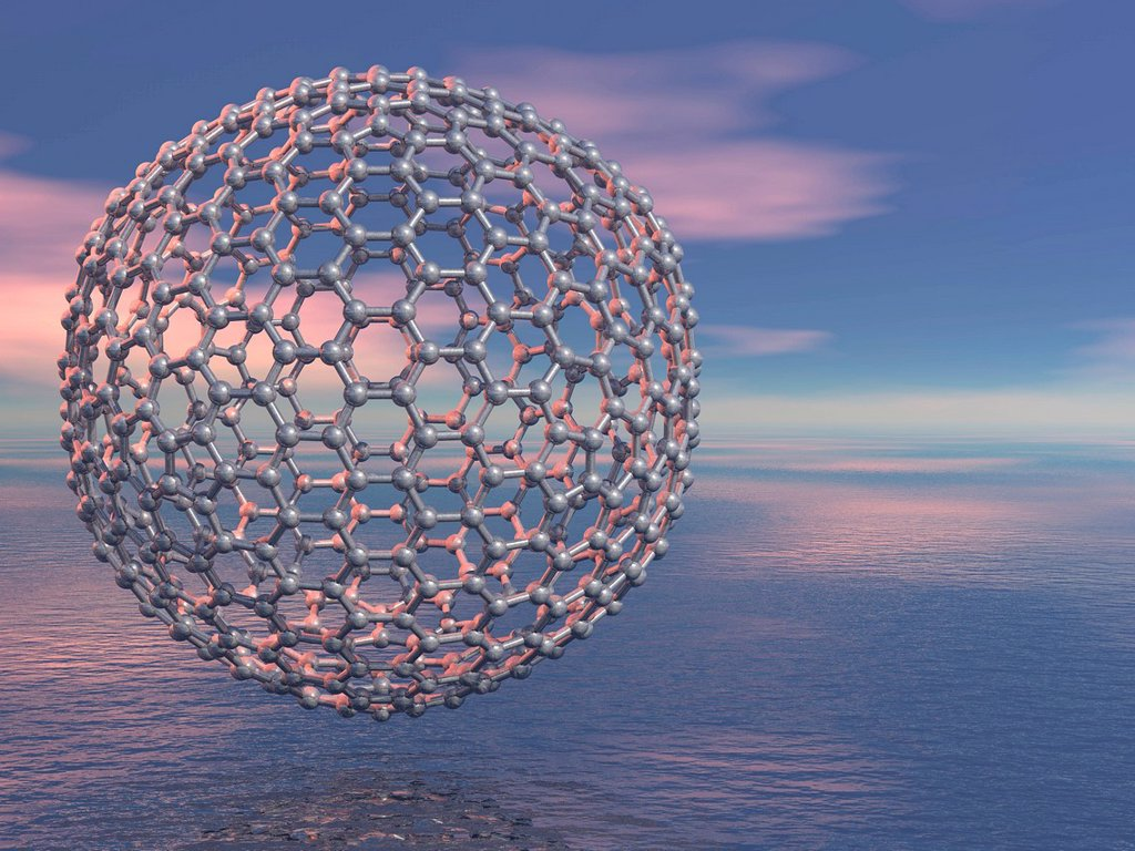 Buckyball molecule, artwork : Stock Photo