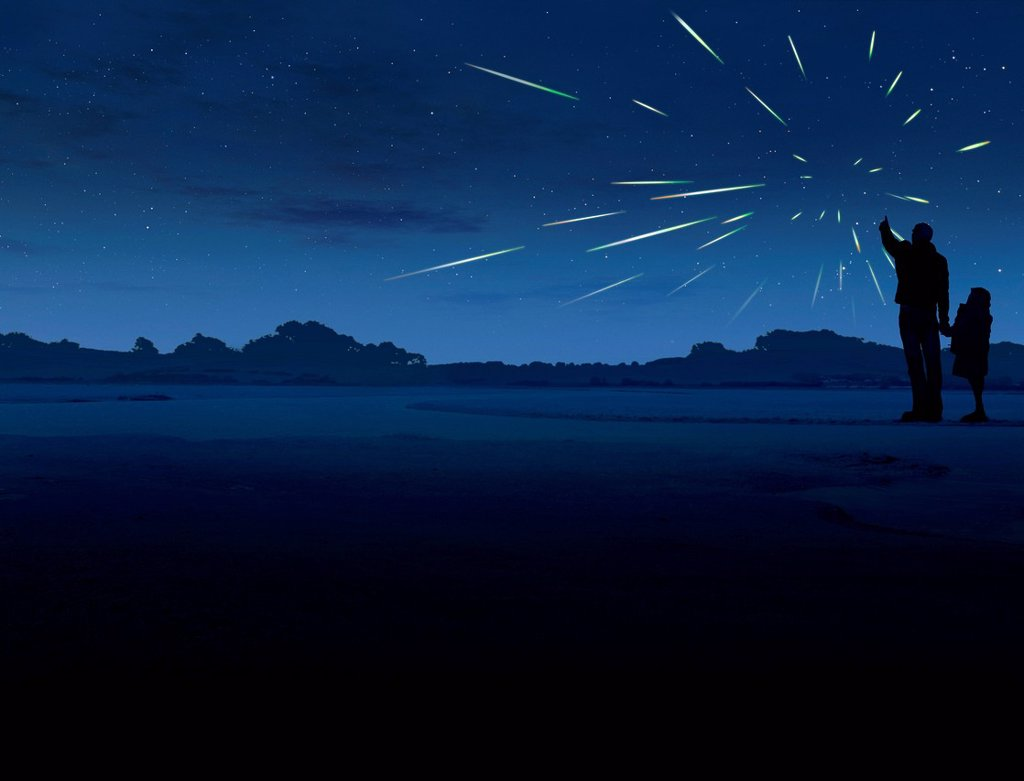 Stock Photo: 4128R-20490 Meteor Shower