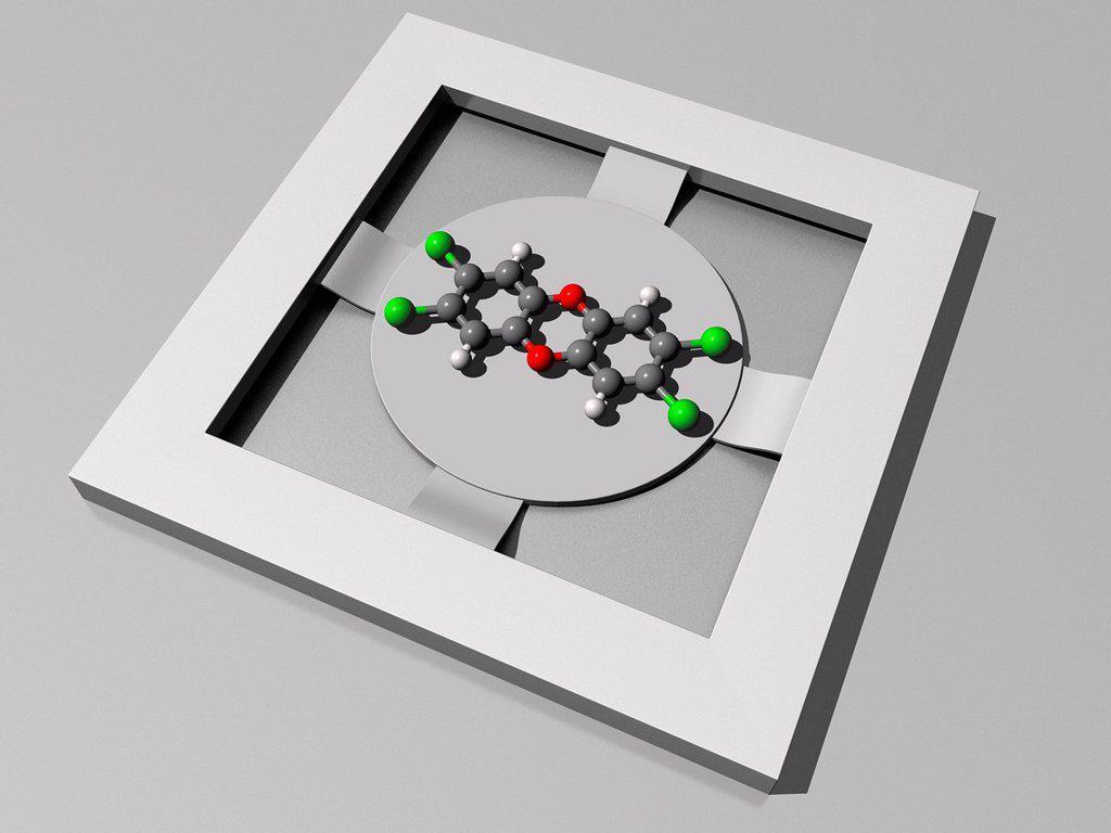 Dioxin sensor, artwork : Stock Photo