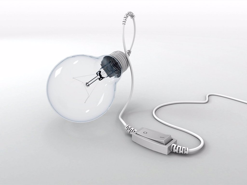 Stock Photo: 4128R-20572 Electric light bulb with on_off switch