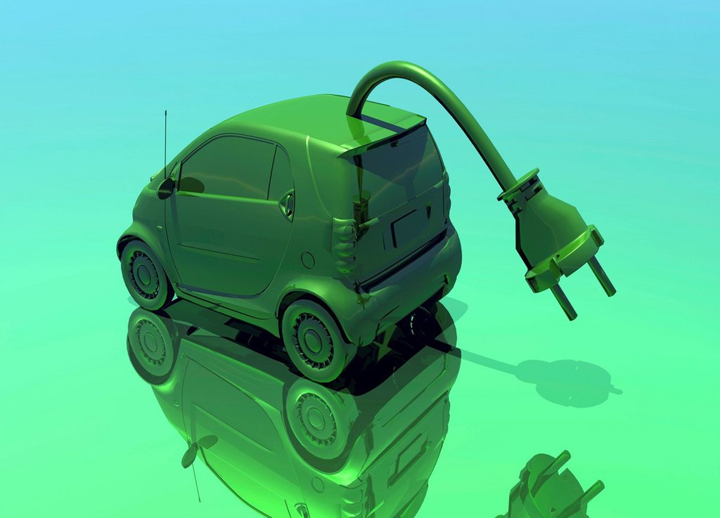 Electric car, conceptual artwork : Stock Photo
