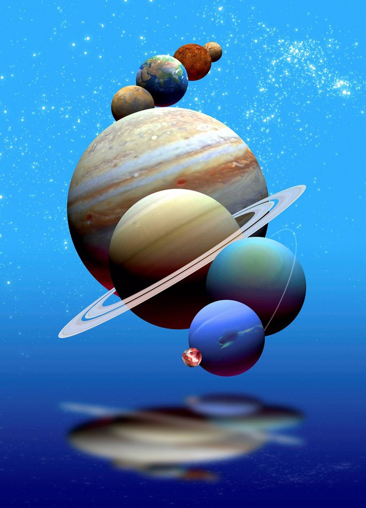 Stock Photo: 4128R-20661 Solar system, artwork
