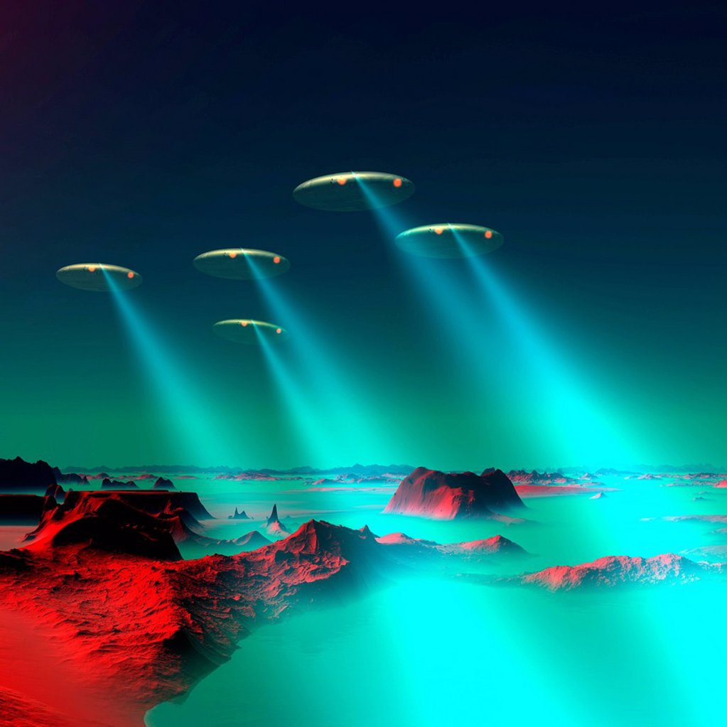 Stock Photo: 4128R-20733 UFOs over an alien planet, artwork