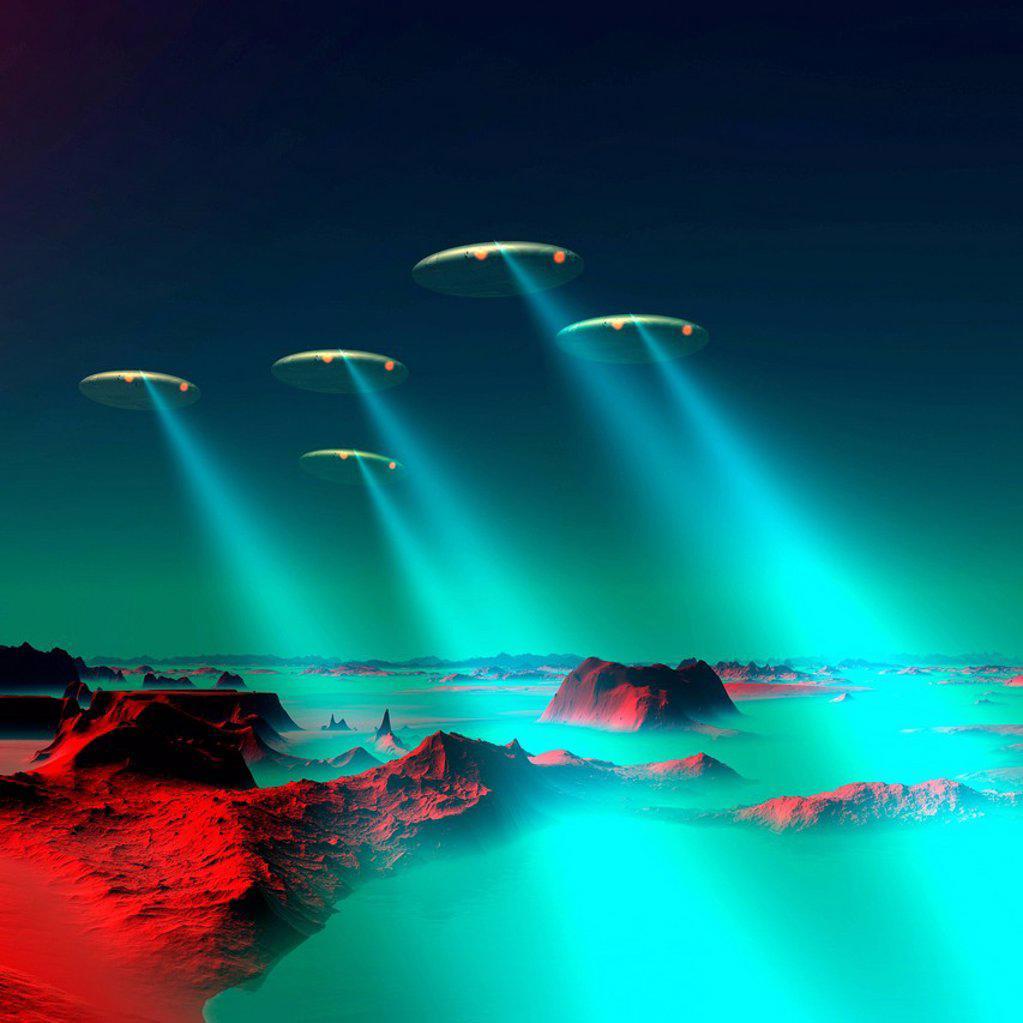 UFOs over an alien planet, artwork : Stock Photo