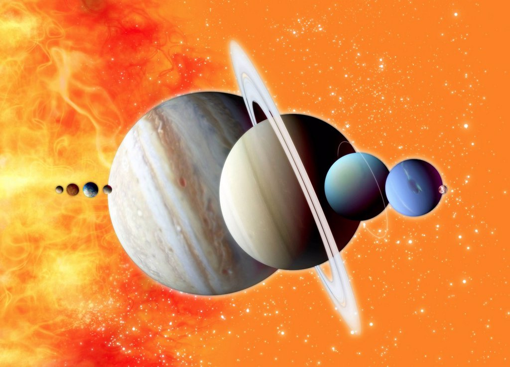 Stock Photo: 4128R-20734 Solar system, artwork