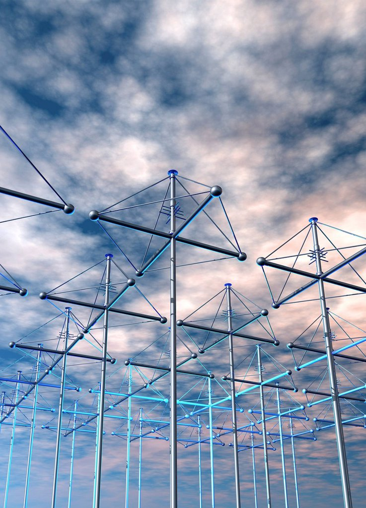 Stock Photo: 4128R-20745 HAARP antenna array, artwork