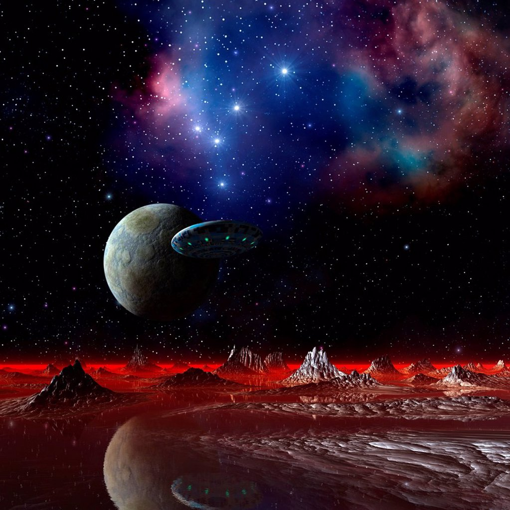 UFO over an alien planet, artwork : Stock Photo