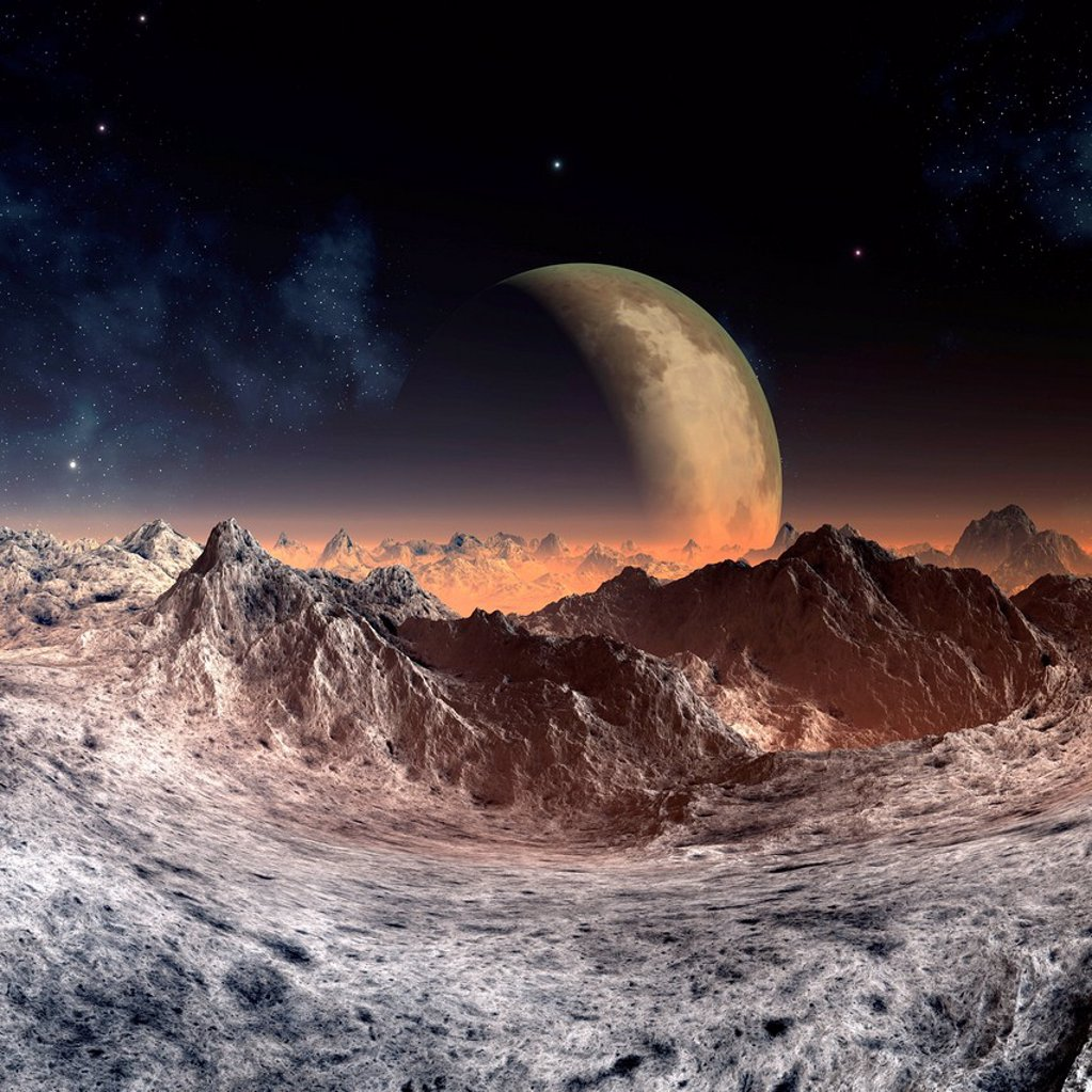 Alien planet, artwork : Stock Photo