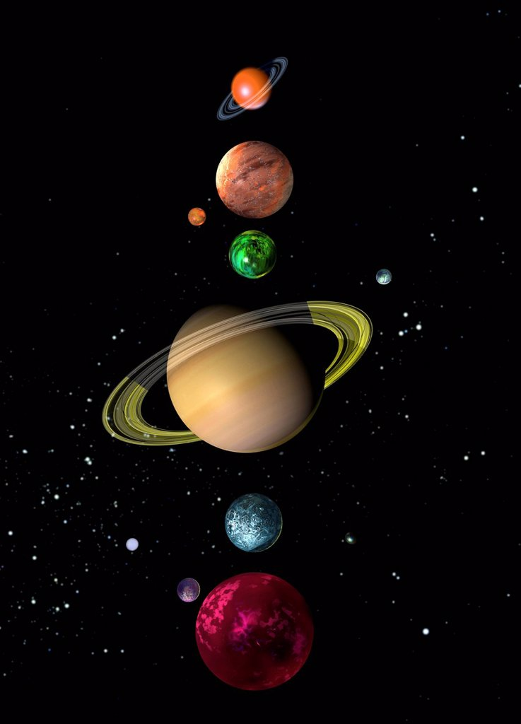 Stock Photo: 4128R-20862 Alien solar system, artwork
