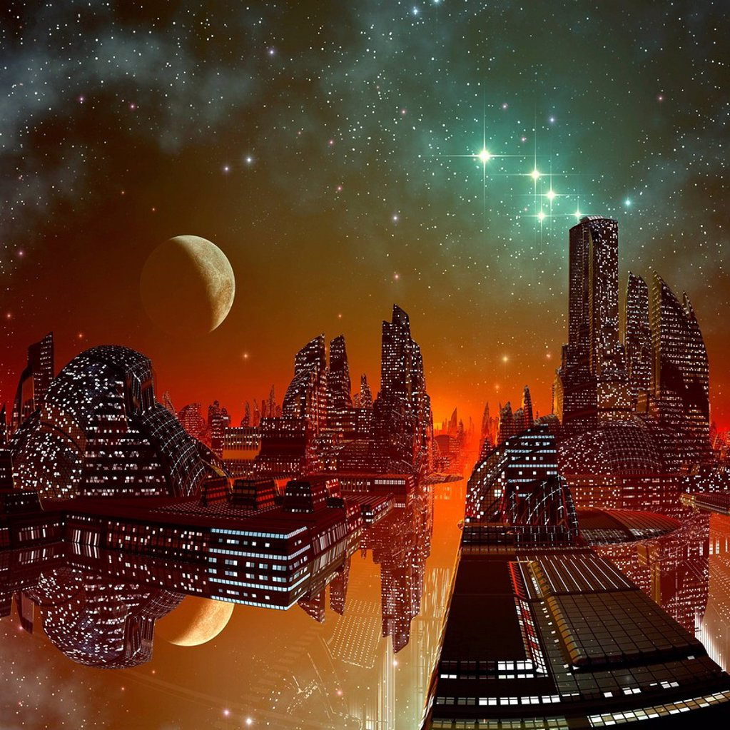 Stock Photo: 4128R-20895 Alien city, artwork