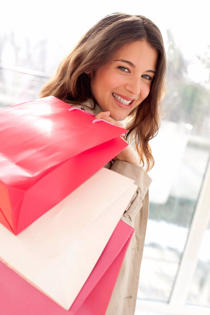 Woman with shopping bags : Stock Photo