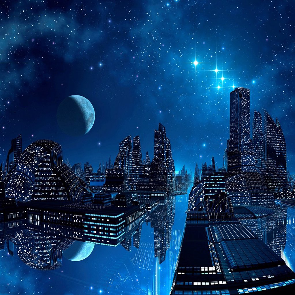 Stock Photo: 4128R-20937 Alien city, artwork