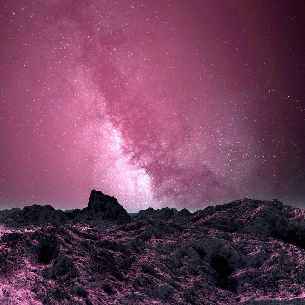 Galaxy seen from an alien planet, artwork : Stock Photo