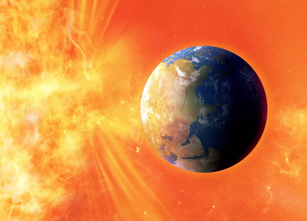 Stock Photo: 4128R-21064 Solar flare hitting Earth, artwork