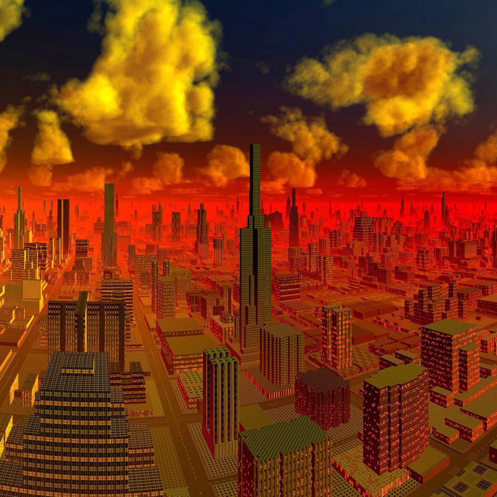 Stock Photo: 4128R-21121 Alien city, artwork