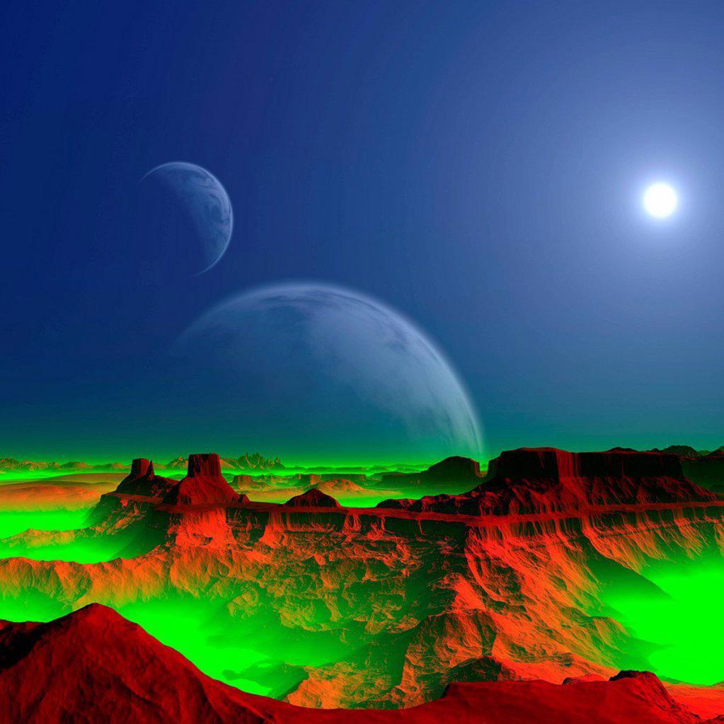 Alien planet, artwork : Stock Photo